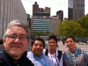 Reynaldo Morales and Menominee representatives at the UN Permanent Forum on Indigenous Issues
