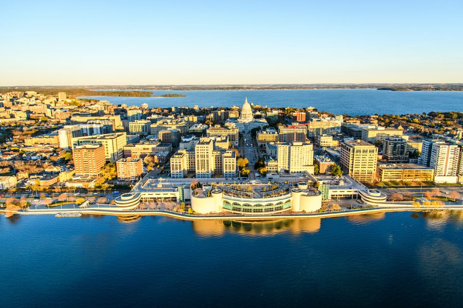 An aerial view of the Madison isthmus, featuring the state capitol building.